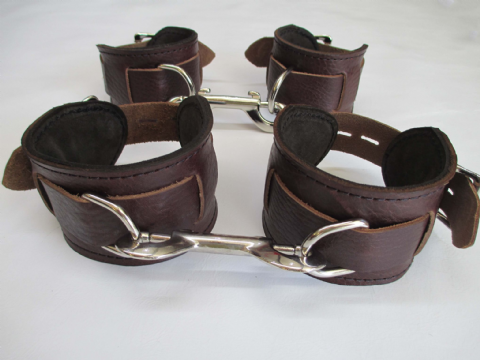 Scandinavian Ox Brown Leather 4 Piece Locking Restraint Cuffs Set (Wrist & Ankles)
